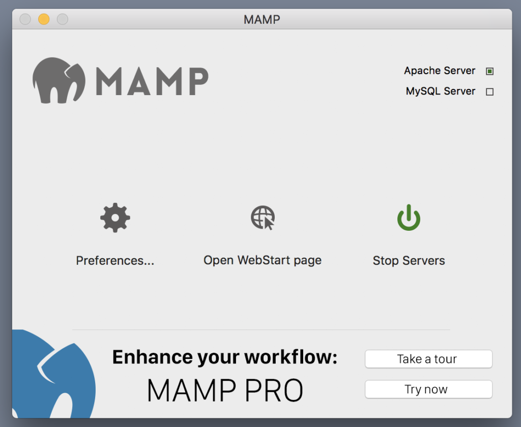 The MAMP starting screen